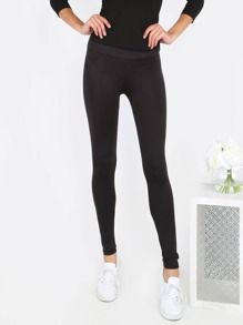 Band Waist Stretch Leggings BLACK