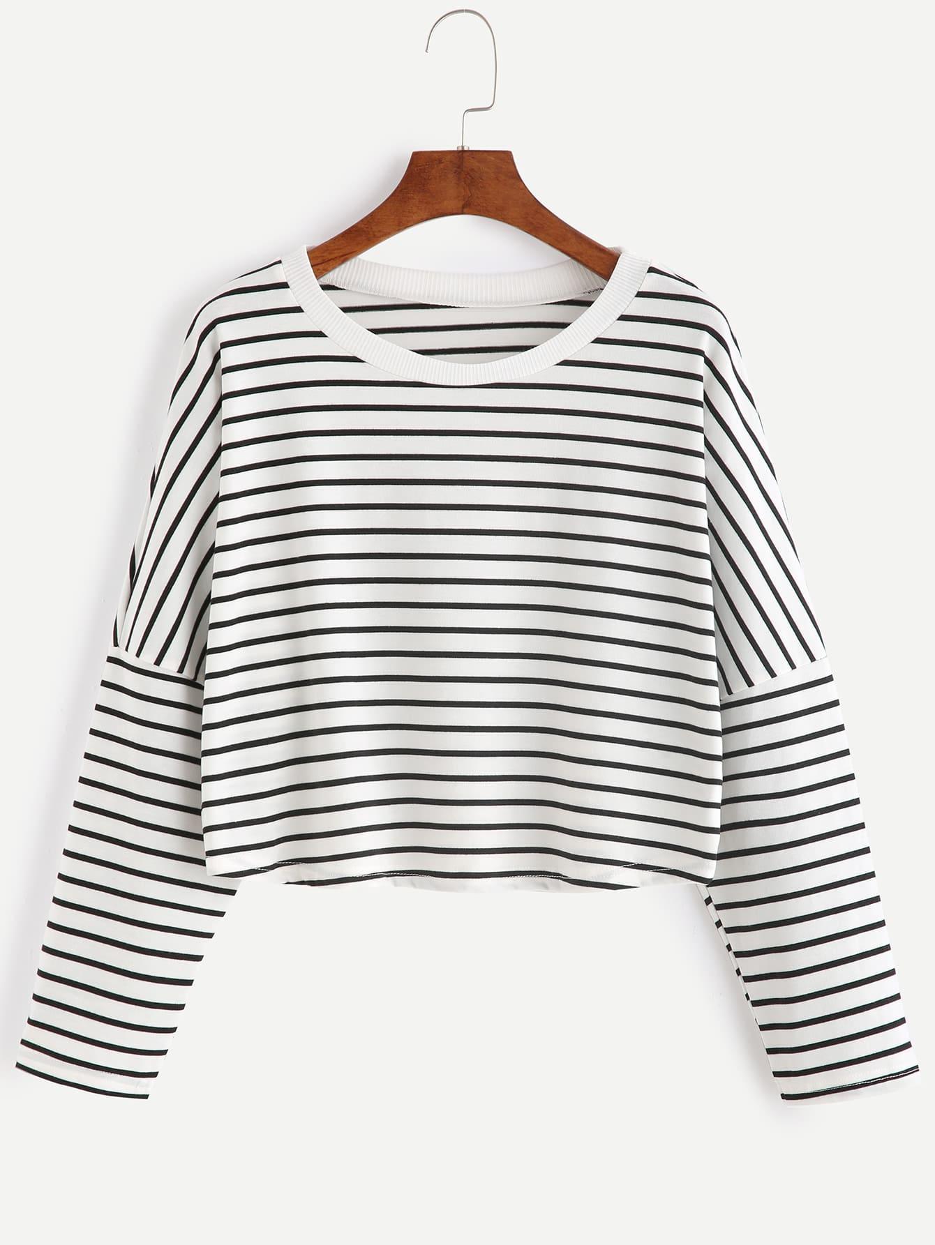 Striped Drop Shoulder Crop T-shirt drop shoulder water color crop sweatshirt