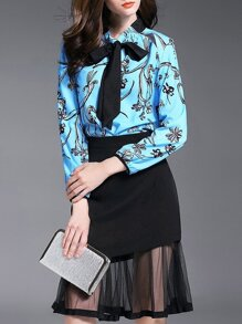 Blue Black Tie Neck Print Top With Sheer Skirt
