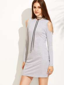 Grey Open Shoulder Tee Dress