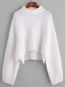 White Drop Shoulder Lantern Sleeve Crop Sweater