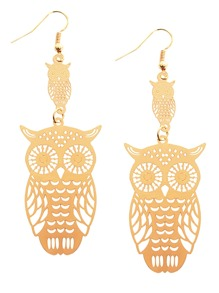 Gold Plated Hollow Out Owl Drop Earrings