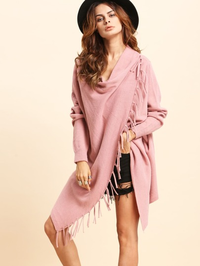 Pink Knitted Tassel Trim Asymmetrical Long Sleeve Outerwear
