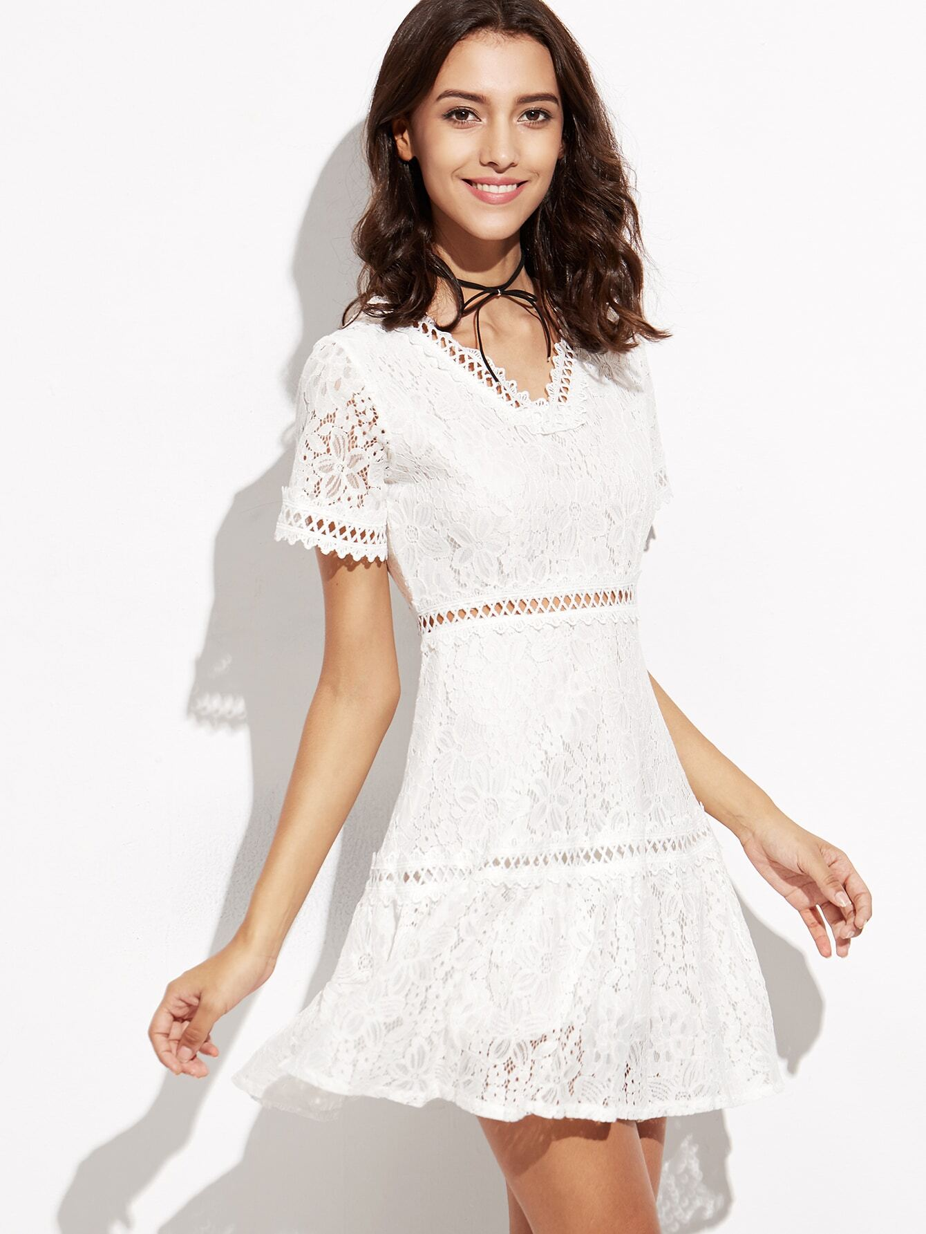 e1d4ffdaf217 White Lace Overlay Hollow Out A-Line Dress. dress160829303_1.  dress160829303_1. dress160829303_1. . dress160829303_2. dress160829303_2.  dress160829303_2