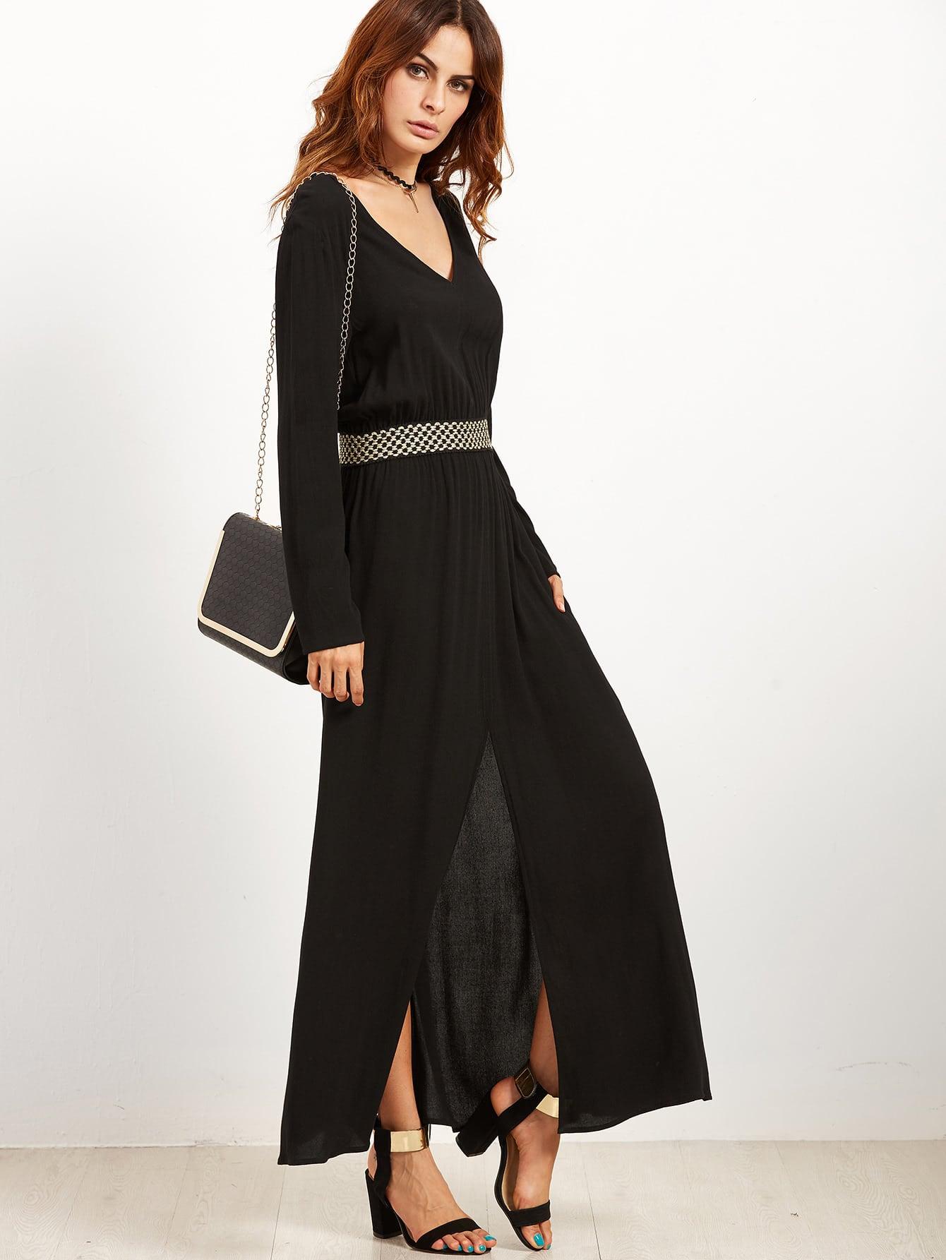 Фото Black V Neck Elastic Waist Split Front Dress. Купить с доставкой