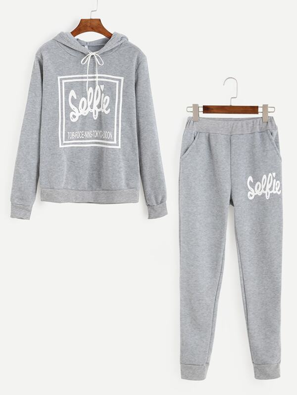 Letter Print Drawstring Hooded Tracksuit by Sheinside
