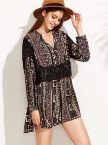 Vintage Print V Neck Contrast Crochet Dress