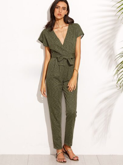 Army Green V Neck Tie Waist Short Sleeve Jumpsuit