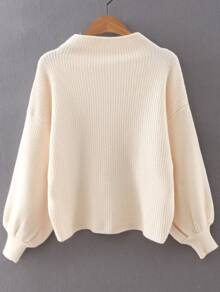 Beige Ribbed Lantern Sleeve Loose Knitwear