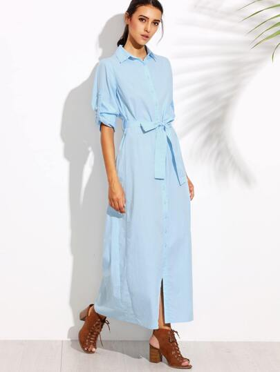 Blue Button Up Roll Tab Sleeve Belted Maxi Shirt Dress