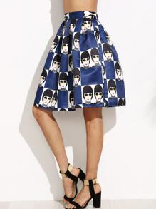 Navy Avatar Print Box Pleated Skirt