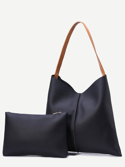 Black Pebbled Faux Leather Tote Bag With Clutch