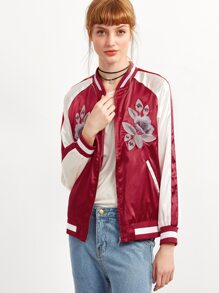 Red Striped Trim Flower Embroidery Bomber Jacket With Zipper