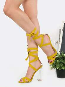 Suede Lace Up Crystal Heels MUSTARD