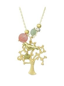 Gold Color Bird Tree Shape Long Pendant Necklace
