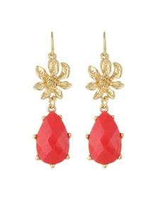 Red Gemstone Flower Drop Earrings