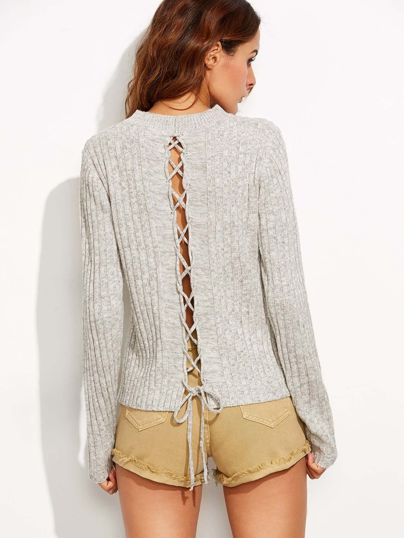 Grey Marled Knit Lace Up Back Ribbed Sweater sweater160811705