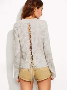 Grey Marled Knit Lace Up Back Ribbed Sweater