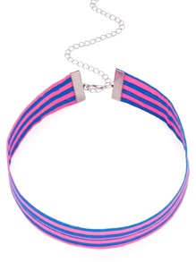 Blue Stripe Wide Handmade Necklace