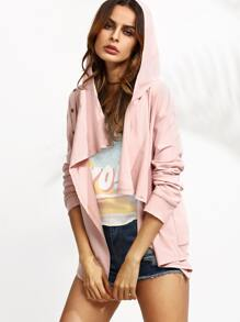 Pink Asymmetric Button Up Hooded Jacket
