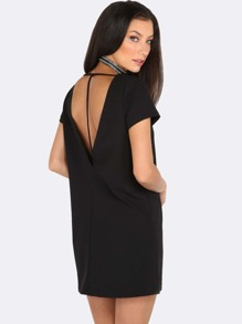 Short Sleeve T-Back Dress BLACK