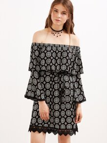 Vintage Print Off The Shoulder Crochet Hem Dress With Belt