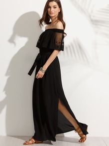 Bardot Lace Overlay Tied Slit Dress