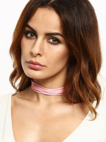 Pink Multi Strand Cord Choker Necklace