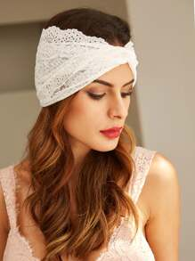 White Lace Twist Headband