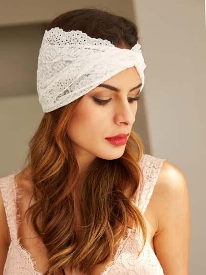 White Lace Twist Headband