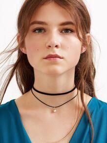 Kristallhalsband Doppel stufige  Halskette Kunstleder-schwarz