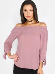 Off The Shoulder Bow Sleeve Top COCOA