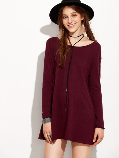 Burgundy Open Back Shift Tshirt Dress