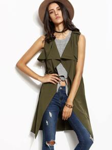 Army Green Lapel Self Tie Sleeveless Slit Side Coat