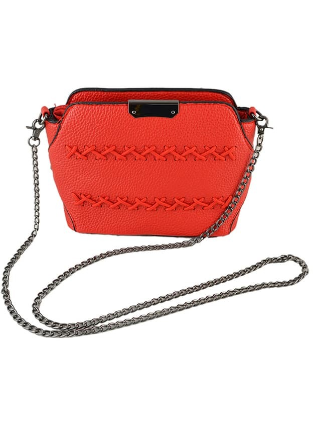 Red Pu Leather Vintage Metal Chain Shoulder Bag For Women Image