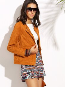 Camel Faux Suede Collarless Zip Up Jacket