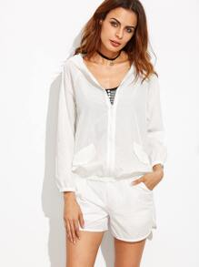 White Hooded Zip Up Top With Elastic Waist Shorts
