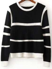 Black Contrast Striped Ribbed Trim Knitwear