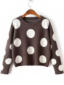 Coffee Polka Dot Drop Shoulder Knitwear