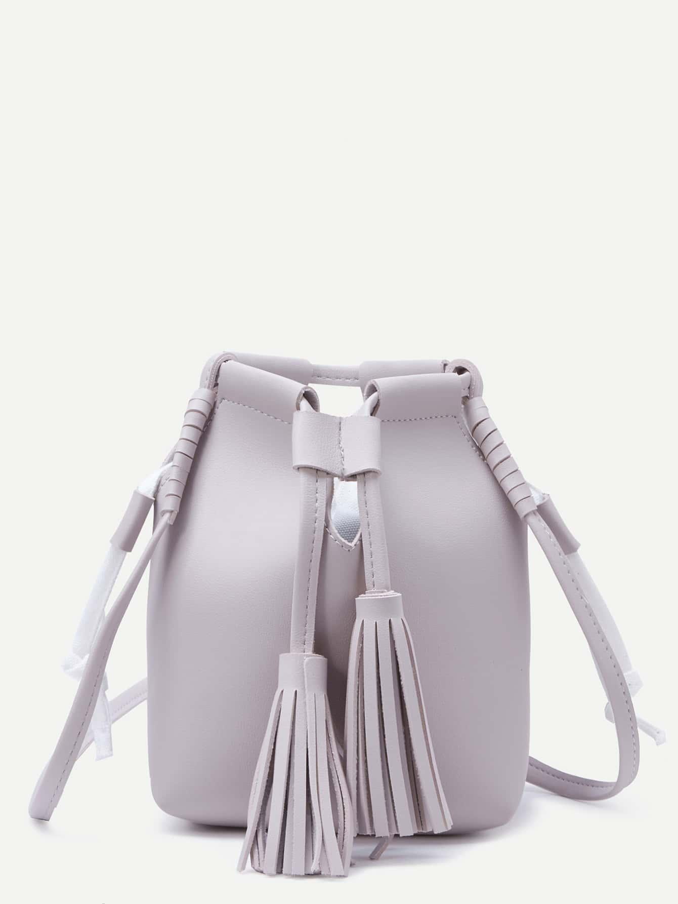 Grey Tassel Drawstring PU Bucket Bag