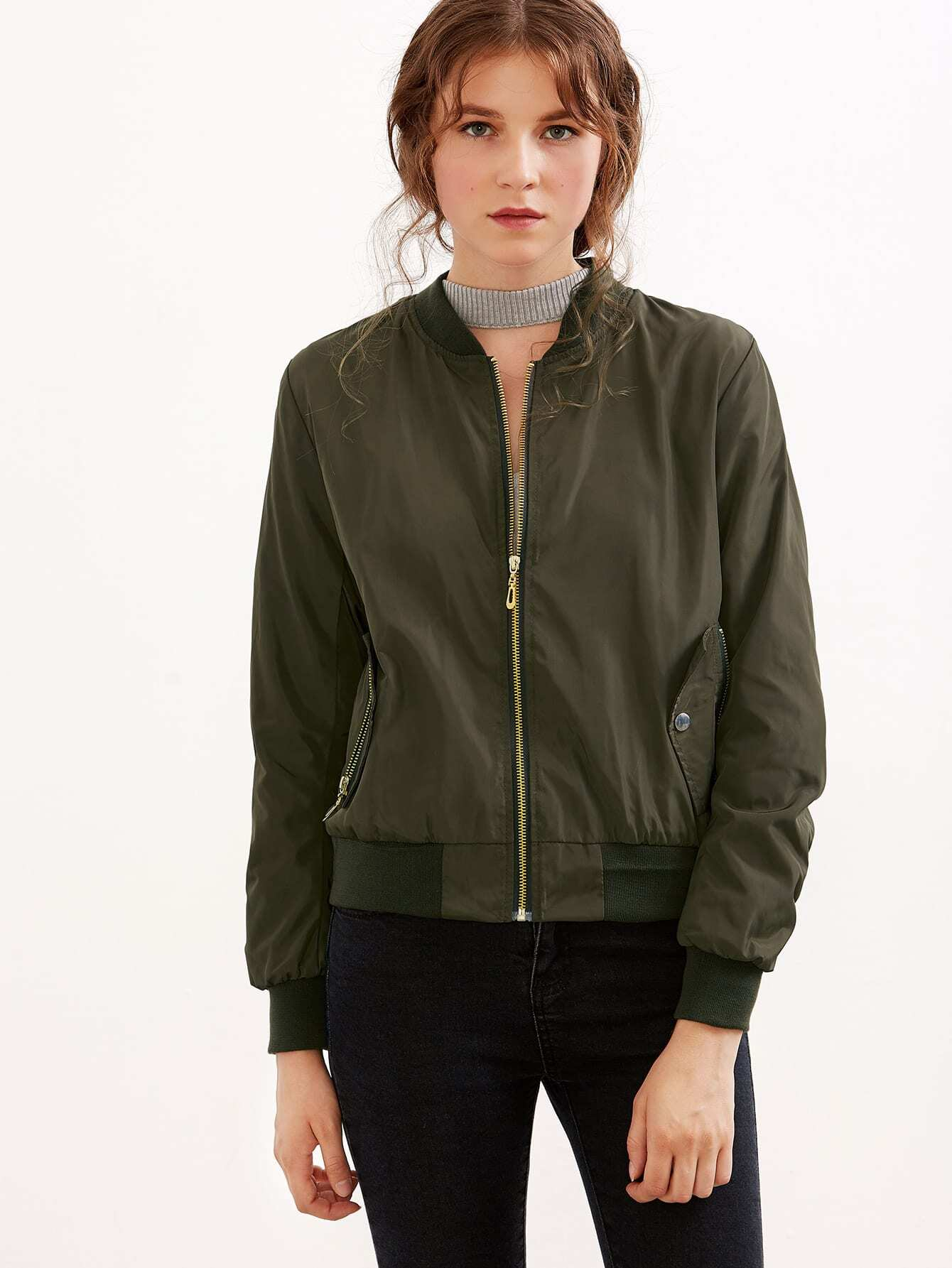 Image of Army Green Shirred Sleeve Zipper Bomber Jacket