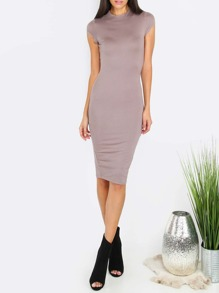 Grey High Neck Short Sleeve Sheath Dress