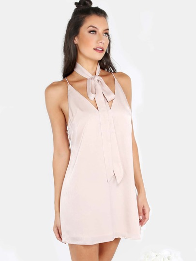 Satin Neck Tie Open Back Cami Dress BLUSH