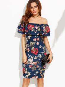 Floral Print Off The Shoulder Ruffle Sheath Dress