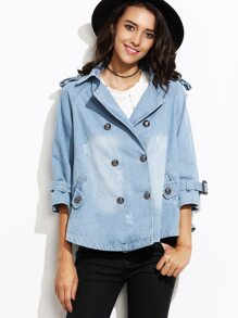 Blue Double Breasted Denim Coat