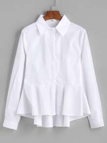 Blusa bajo asimétrico con péplum - blanco