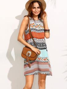 Multicolor Print Tie Back Sleeveless Shift Dress