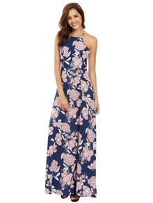Halter Neck Floral Print Beach Dress