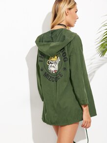 Army Green Dog Print Drawstring Hem Hooded Coat
