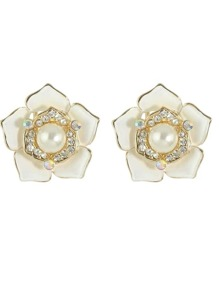 White Imitation Pearl Rhinestone Big Flower Clip Stud Earrings